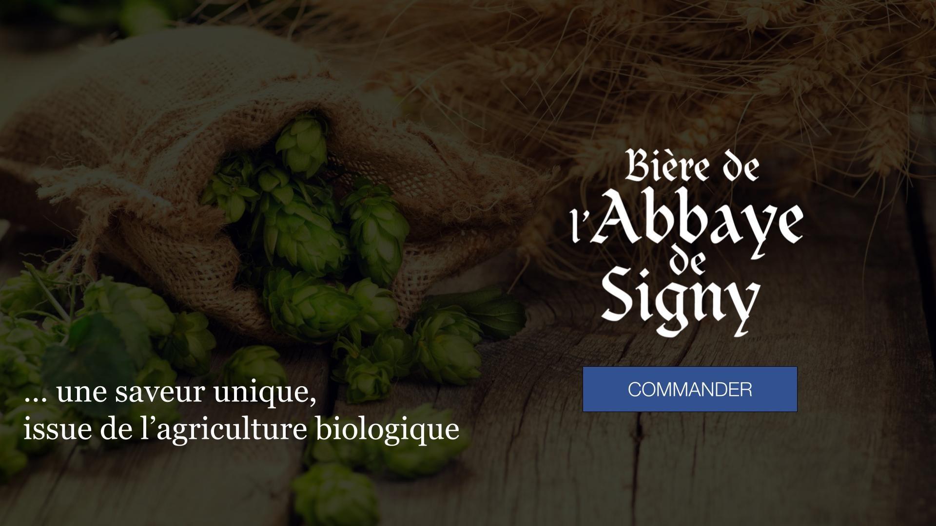La bière de l'Abbaye de Signy est une bière bio : ses ingrédients (le houblon, le malt) sont issus de l'agriculture biologique